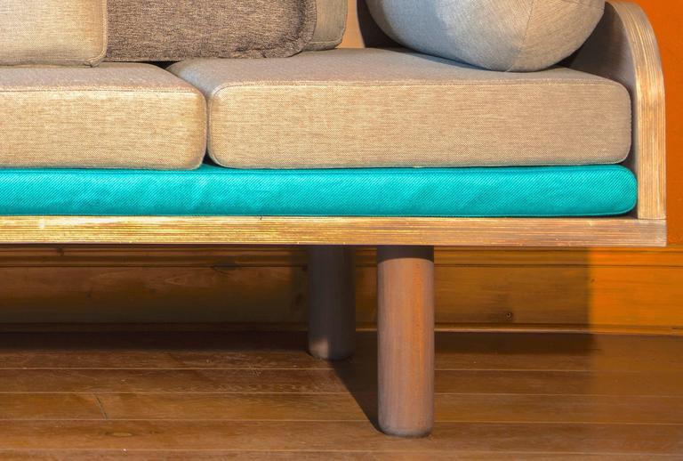 European Modern Oak Three Seat Sofa With Adjustable