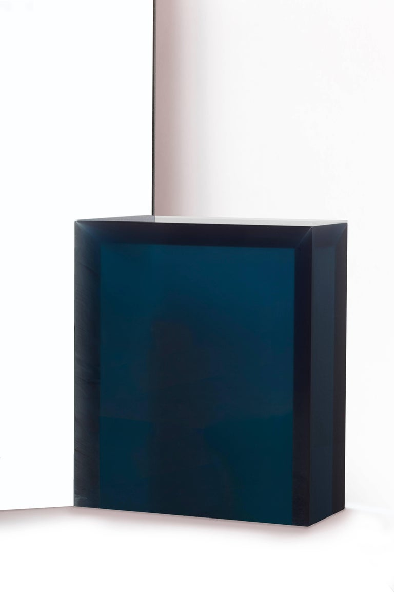 Post-Modern Contemporary 'Deux' One-way Mirror by Sabine Marcelis, Blue Resin Block For Sale