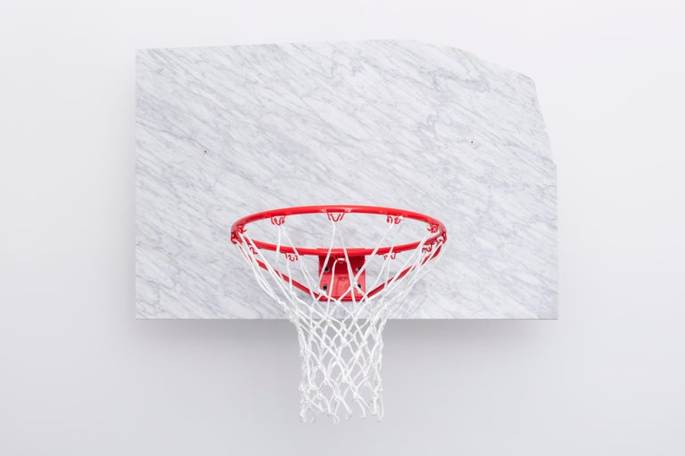 Post-Modern Basketball Pot and Backboard with Italian Marble, by Guillermo Santoma For Sale