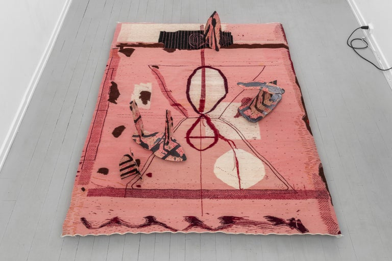 Hand-Woven Pink Flat-Weave Wool Tapestry / Carpet 'Do Not Attempt to Break the Seal' For Sale