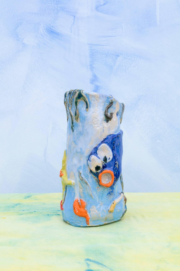 Modern Contemporary Handmade Blue Ceramic Vase by Superpoly, with Fish Decoration For Sale