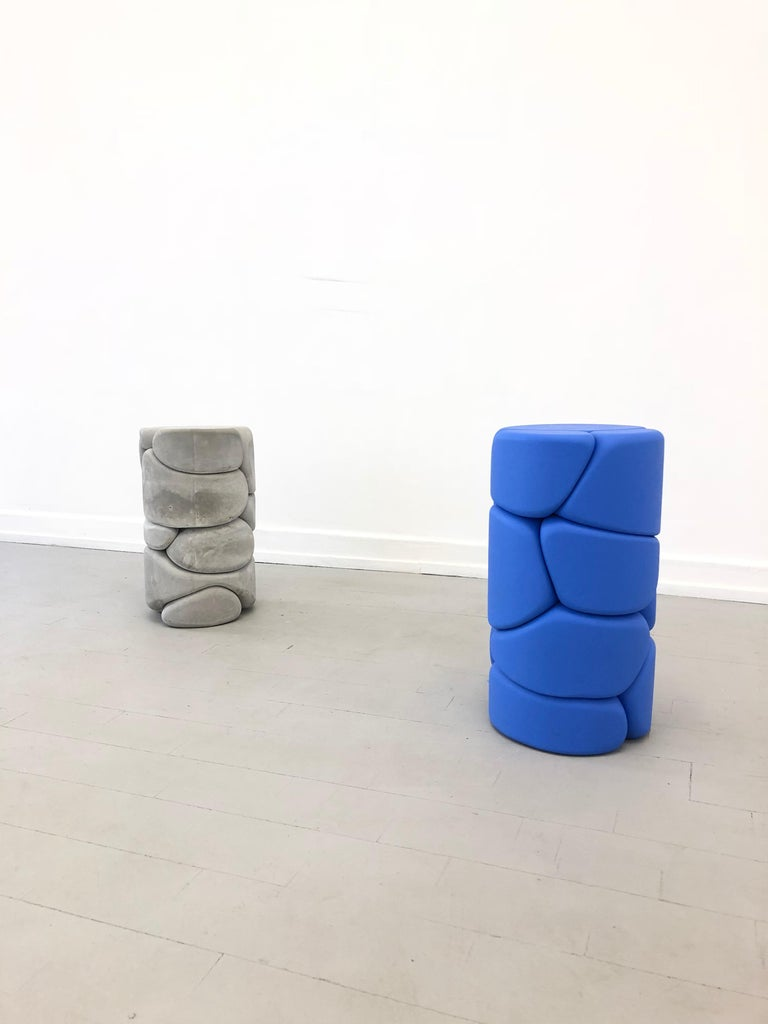 Post-Modern Contemporary Unique Puffy Brick Column Stool / Side Table by Soft Baroque, Blue For Sale