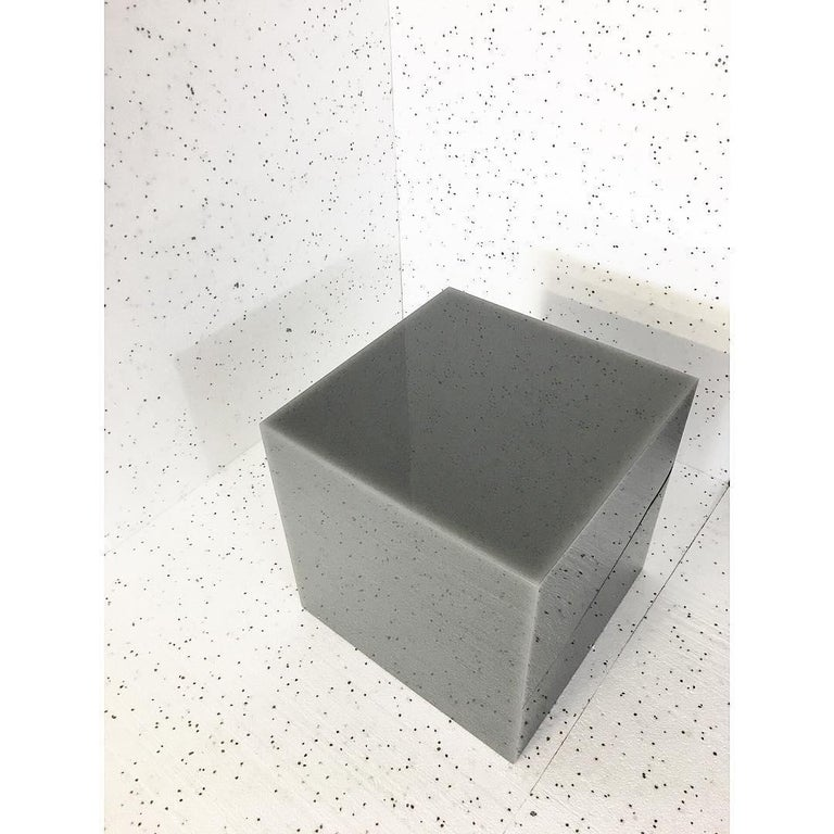 Cast Contemporary Glossy Resin Candy Cube Side Table by Sabine Marcelis, Grey, Low For Sale