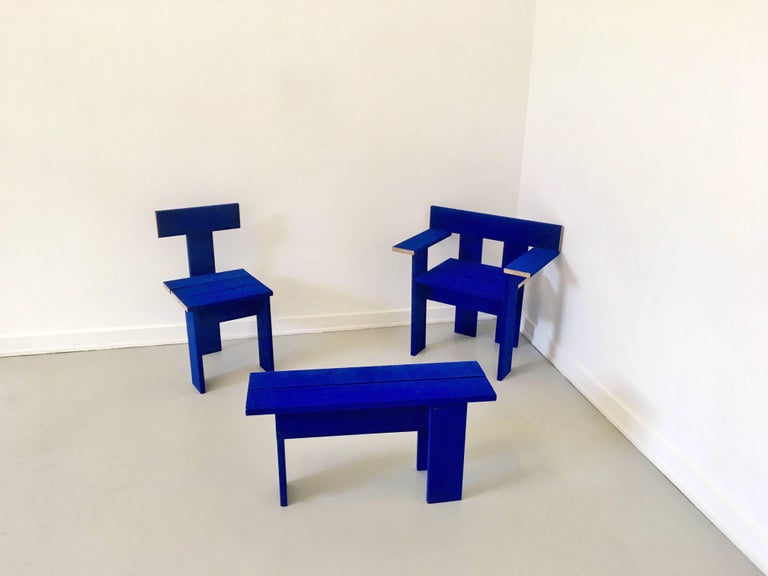 Blue textile covered wooden armchair by London based design duo Soft Baroque, previously shown at Het Nieuwe Institut.  Renderings are becoming more diabolic and sophisticated, representations of reality are appearing in higher resolution. Meanwhile