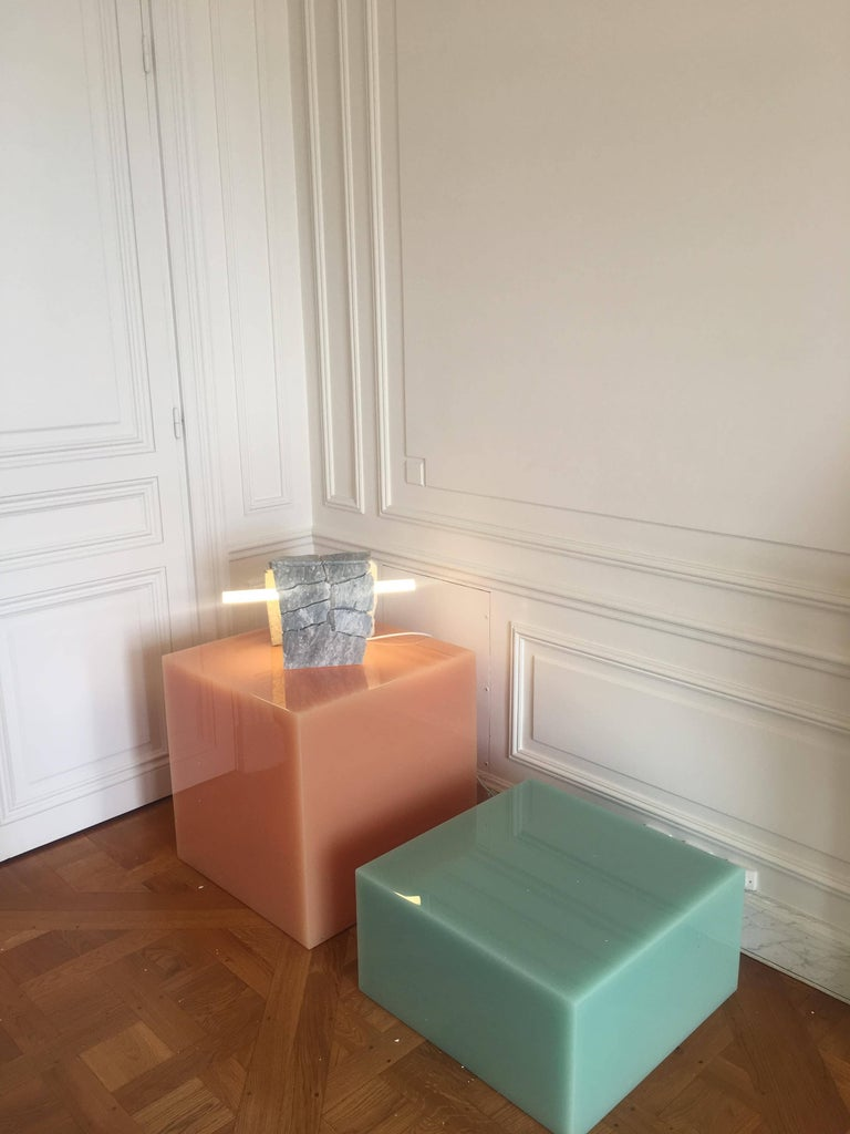 Modern Candy Cube in Mint Green, Side Table For Sale