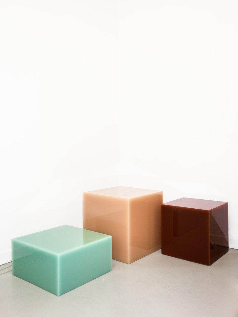 Cast Contemporary Glossy Resin Side Table, Candy Cube by Sabine Marcelis, Mint Green For Sale