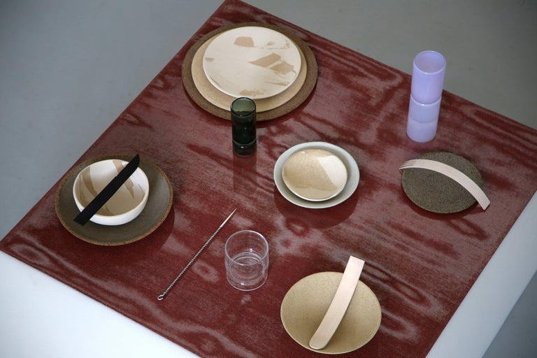Modern Stoneware Plate P20 by Christel Thue, Plant Series For Sale