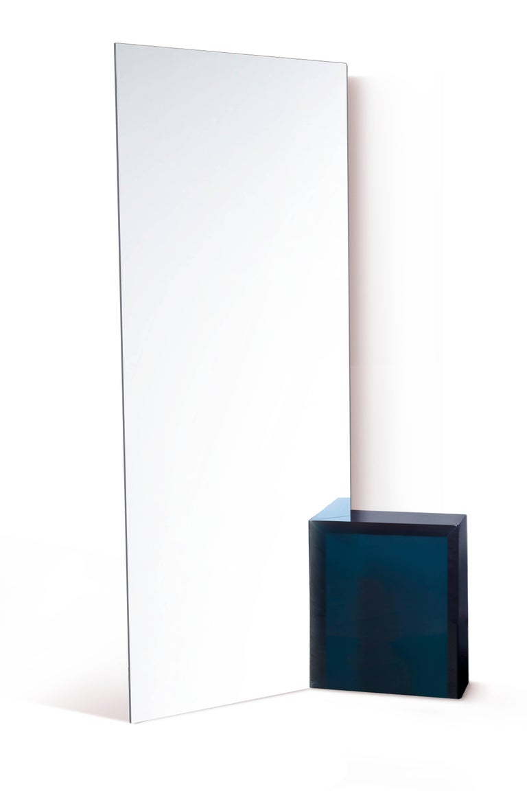 Polished Contemporary 'Deux' One-way Mirror by Sabine Marcelis, Blue Resin Block For Sale