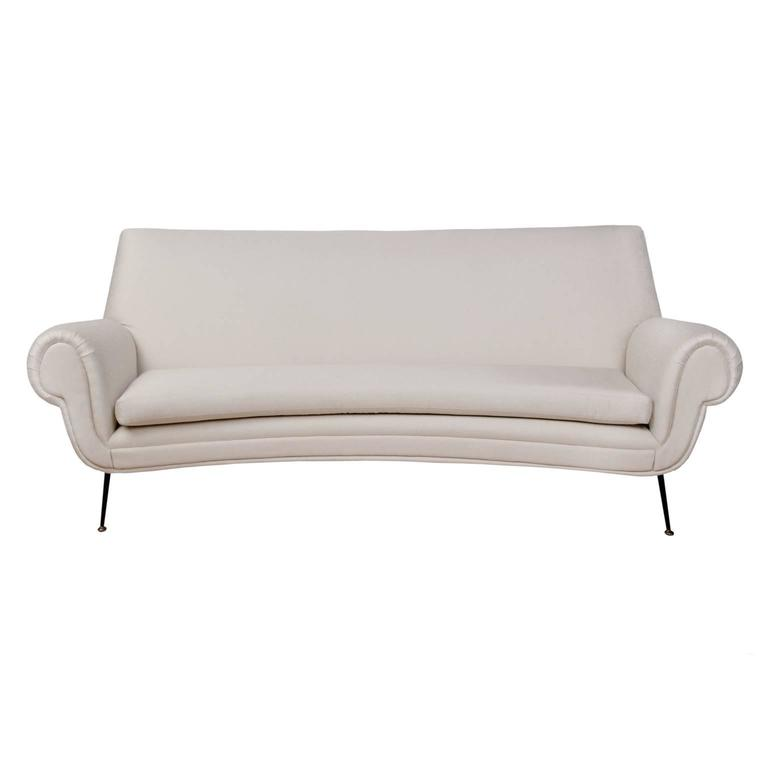 curved gigi radice three seat sofa upholstered in dedar fabric at 1stdibs