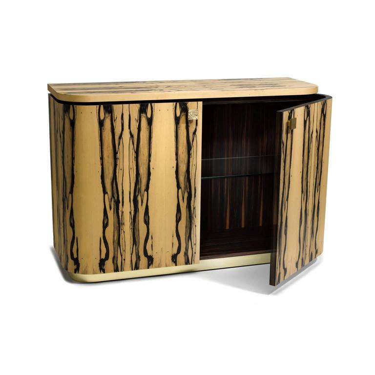 British Riccardo Sideboard In White Ebony, Macassar Ebony And Brass For Sale