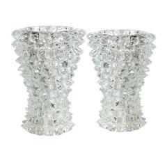 Pair of Signed Pino Signoretto, Rostrati Murano Table Lamps