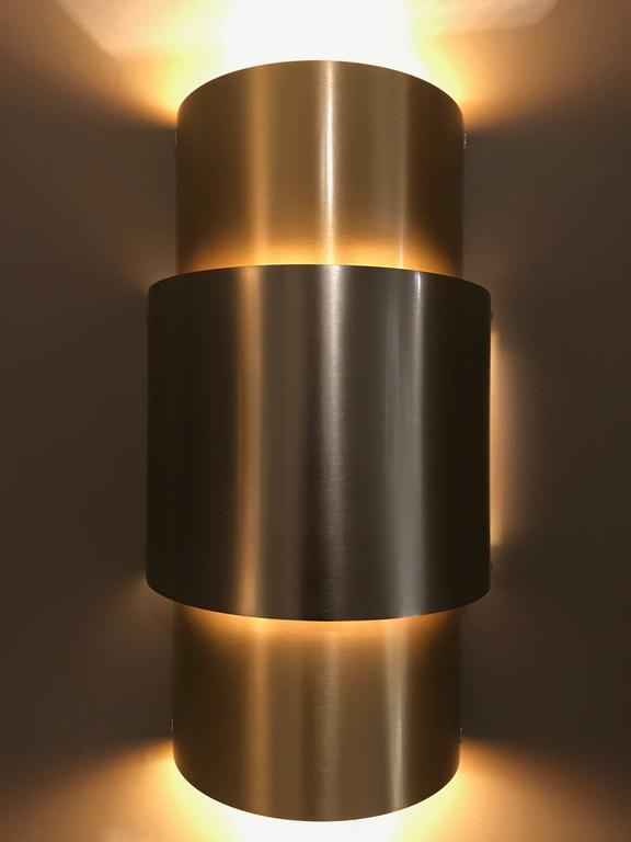 Pair of 1970s Barrel Brushed Nickel and Brass Wall Lights For Sale at 1stdibs