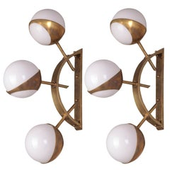 Pair of Midcentury Style Triple Orb Brass and Opal Italian Glass Wall Lights