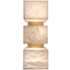 Scatola Wall Sconce, Alabaster Cubes and Brushed Patinated Brass
