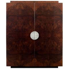 Bond Drinks Cabinet, High Gloss Burr Walnut Veneer with Maple Interior