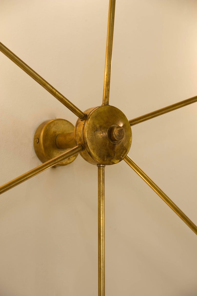 Contemporary Italian Wall Sconces : Mid-Century Modern Italian Spider Wall Sconce in Natural Brass For Sale at 1stdibs