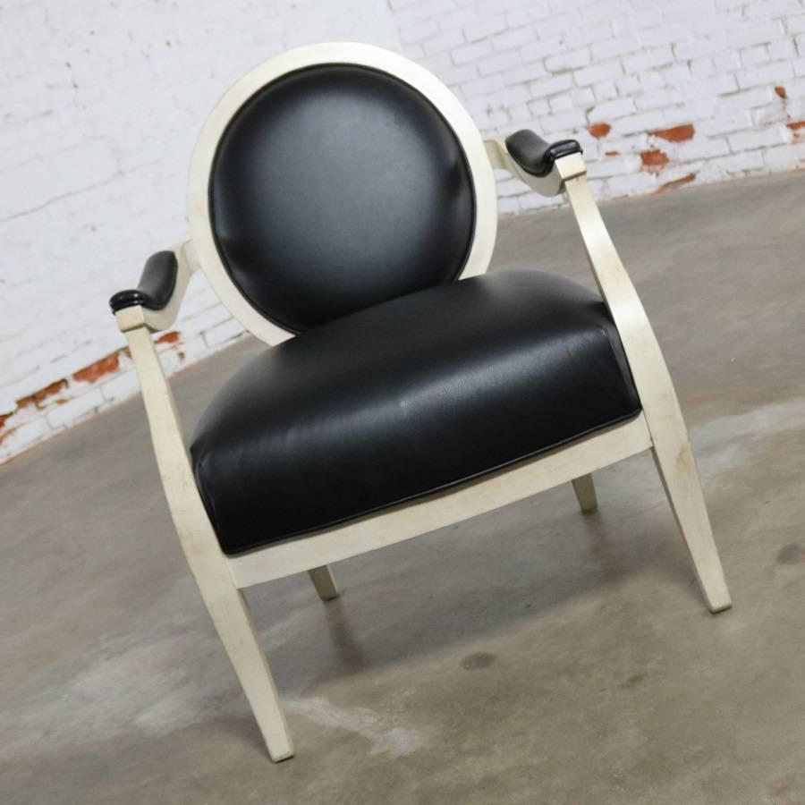 Modern Black And Antique White Transitional Fauteuil Open Arm Side Or Accent  Chair For Sale