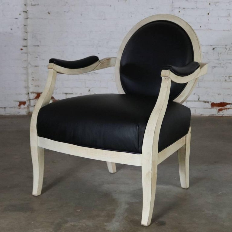 Faux Leather Black and Antique White Transitional Fauteuil Open-Arm Side or Accent Chair For Sale