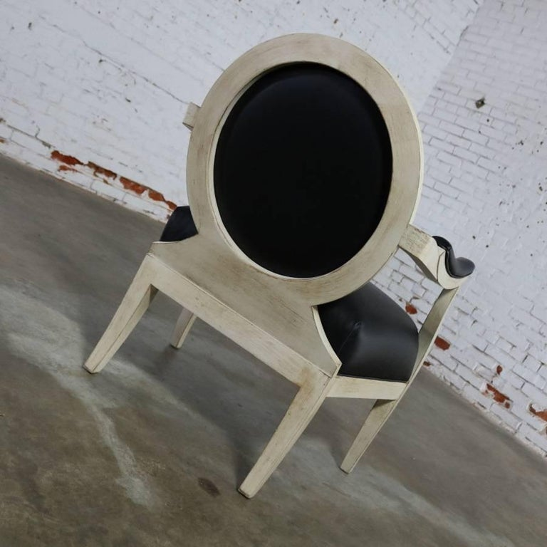 Black and Antique White Transitional Fauteuil Open-Arm Side or Accent Chair In Good Condition For Sale In Topeka, KS