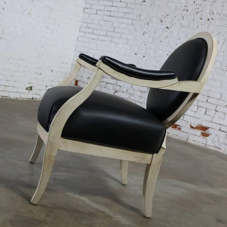 20th Century Black and Antique White Transitional Fauteuil Open-Arm Side or Accent Chair For Sale