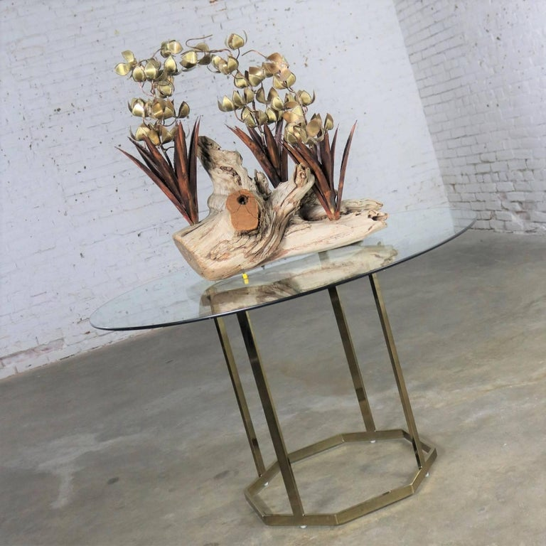 Torch Cut Brutalist Floral Copper and Brass Sculpture on Driftwood For Sale 13