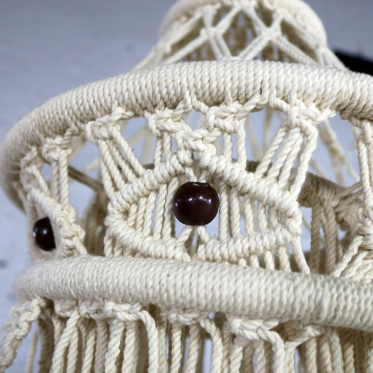 Vintage Bohemian White Macramé Hanging Table with Round Glass Top For Sale 3