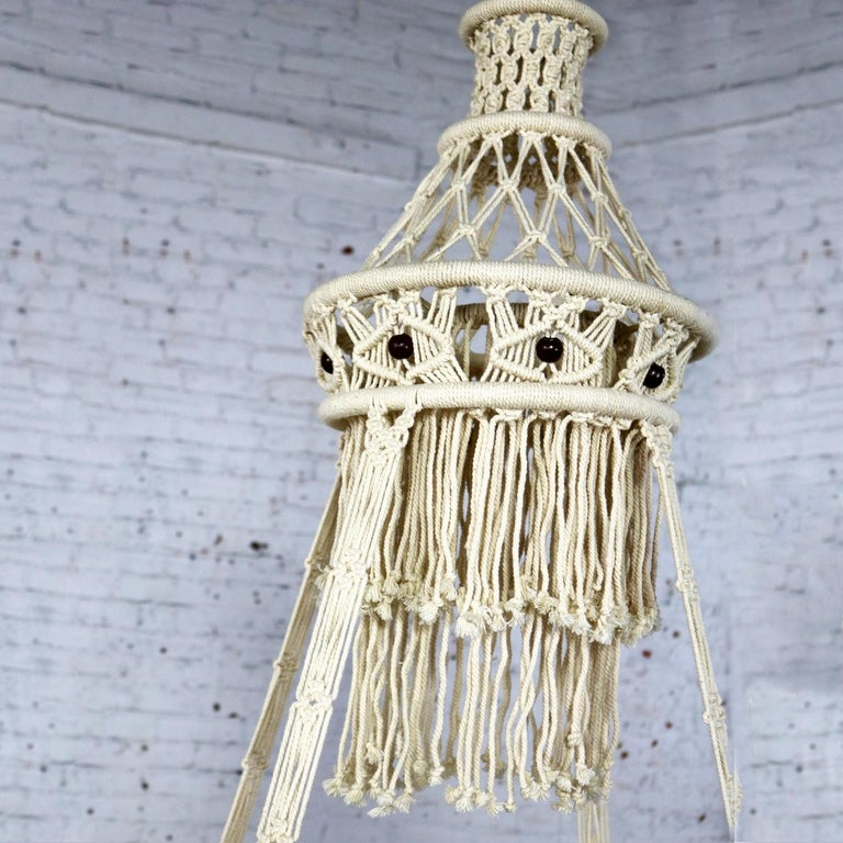 Cord Vintage Bohemian White Macramé Hanging Table with Round Glass Top For Sale