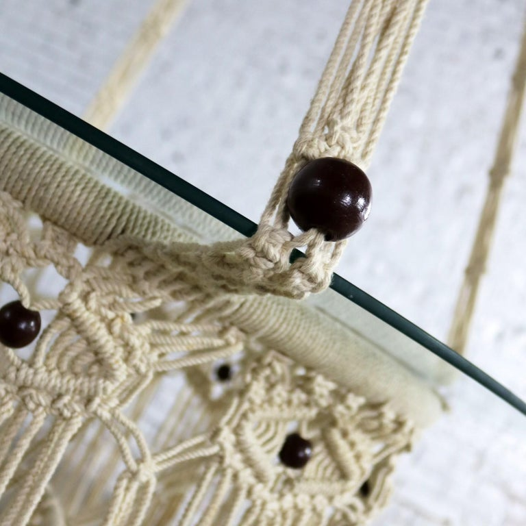 Vintage Bohemian White Macramé Hanging Table with Round Glass Top For Sale 8