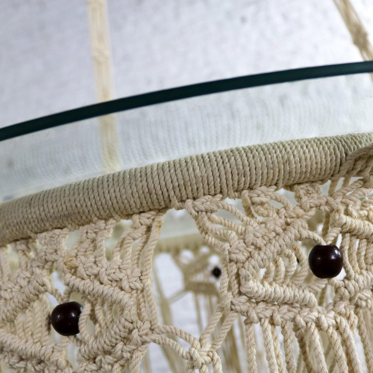 Vintage Bohemian White Macramé Hanging Table with Round Glass Top For Sale 9