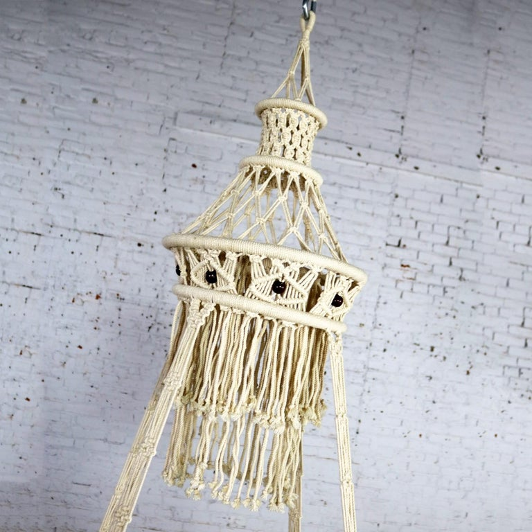 Vintage Bohemian White Macramé Hanging Table with Round Glass Top For Sale 1