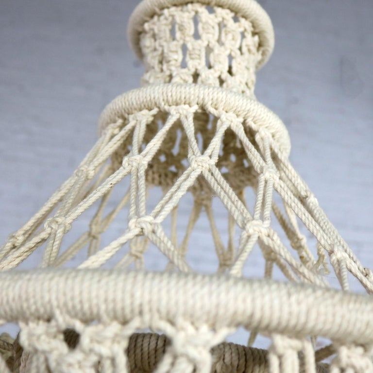 Vintage Bohemian White Macramé Hanging Table with Round Glass Top For Sale 2