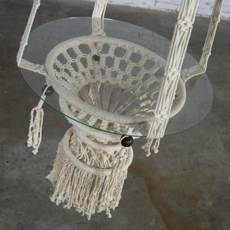 Vintage Pair of Bohemian White Macramé Hanging Tables with Round Glass Tops For Sale 2
