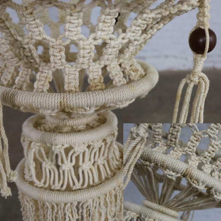 Vintage Pair of Bohemian White Macramé Hanging Tables with Round Glass Tops For Sale 11