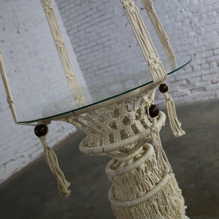 Vintage Pair of Bohemian White Macramé Hanging Tables with Round Glass Tops For Sale 5
