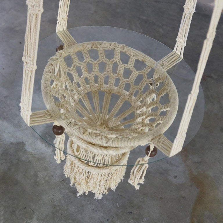 Vintage Pair of Bohemian White Macramé Hanging Tables with Round Glass Tops For Sale 4
