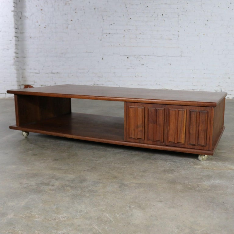 Rolling Coffee Table With Storage: Low Slung Walnut Midcentury Rectangular Coffee Table With