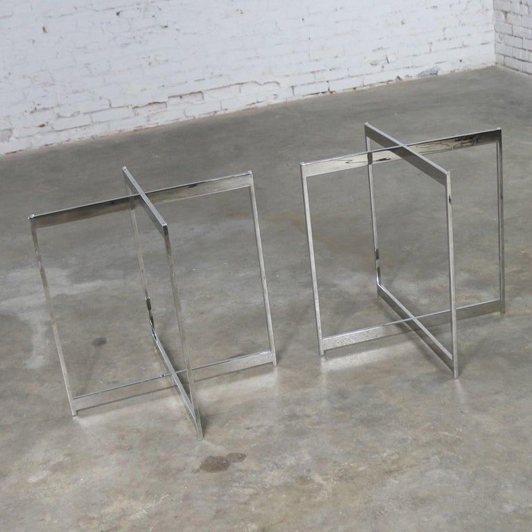 Pair of Chrome X-Base Round Glass Top Side Tables after Mies van der Rohe For Sale 3