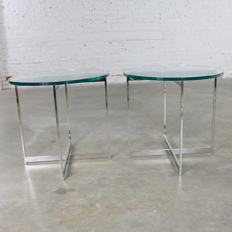 Pair of Chrome X-Base Round Glass Top Side Tables after Mies van der Rohe In Good Condition For Sale In Topeka, KS