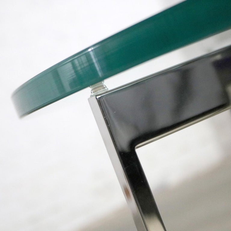 Pair of Chrome X-Base Round Glass Top Side Tables after Mies van der Rohe For Sale 4