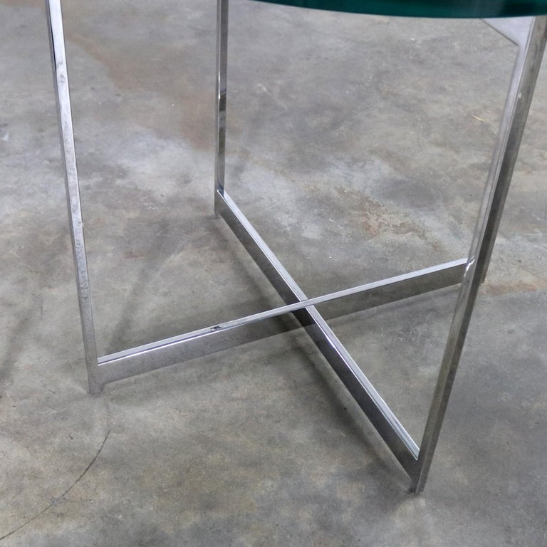 Pair of Chrome X-Base Round Glass Top Side Tables after Mies van der Rohe For Sale 5
