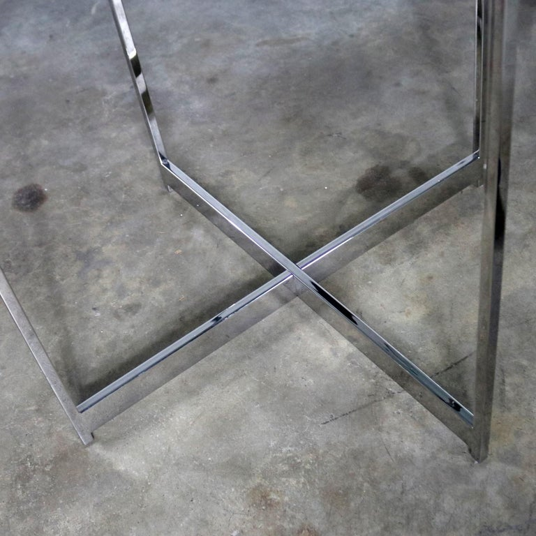 Pair of Chrome X-Base Round Glass Top Side Tables after Mies van der Rohe For Sale 6