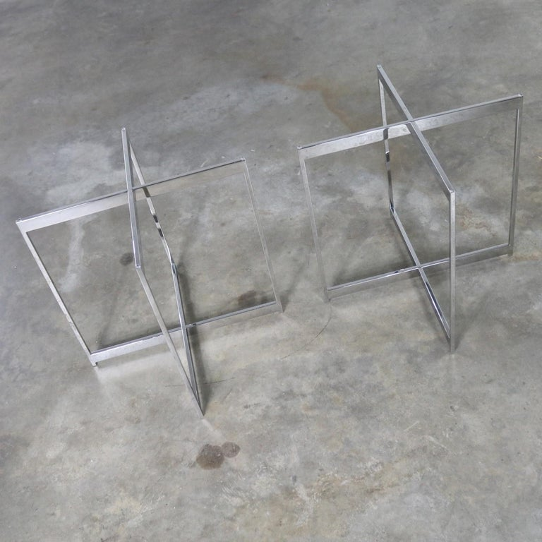 Pair of Chrome X-Base Round Glass Top Side Tables after Mies van der Rohe For Sale 2