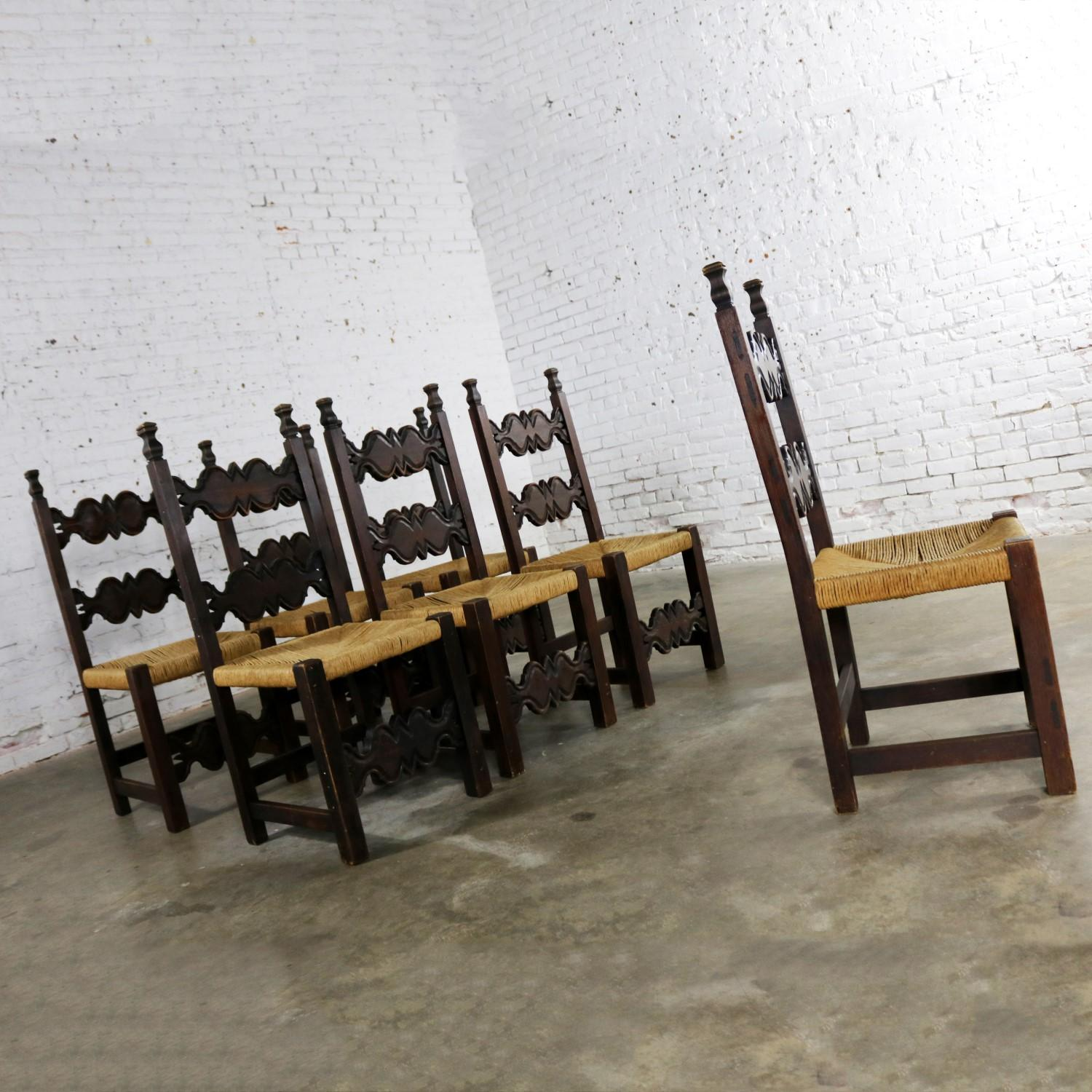 Mexican Seven Revival Style Dining Chairs Rush Seats Artes De Mexico  Internacionales For Sale