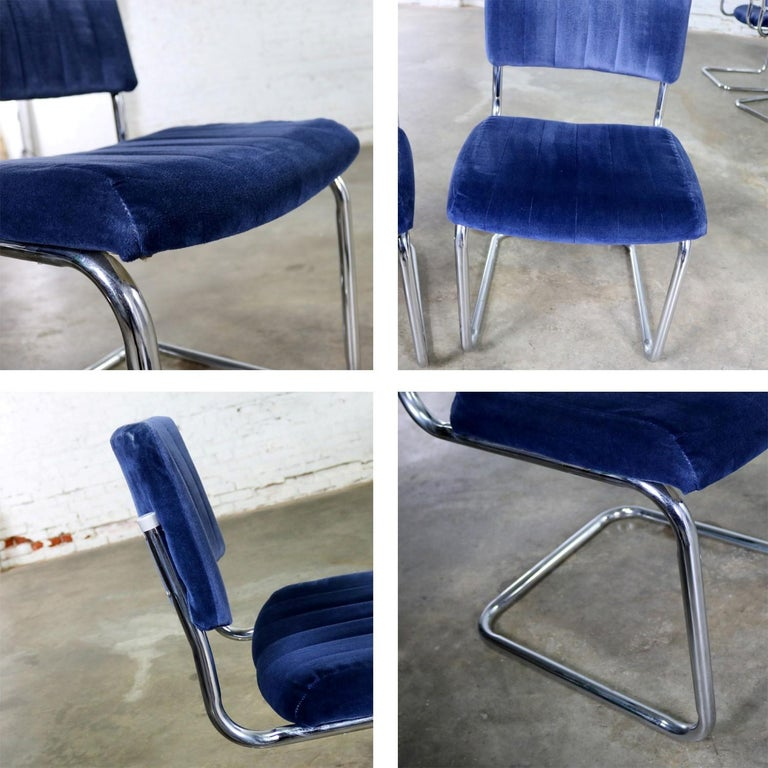 Ten Cantilevered Chrome and Blue Velvet Dining Chairs after Marcel Breuer Cesca For Sale 4