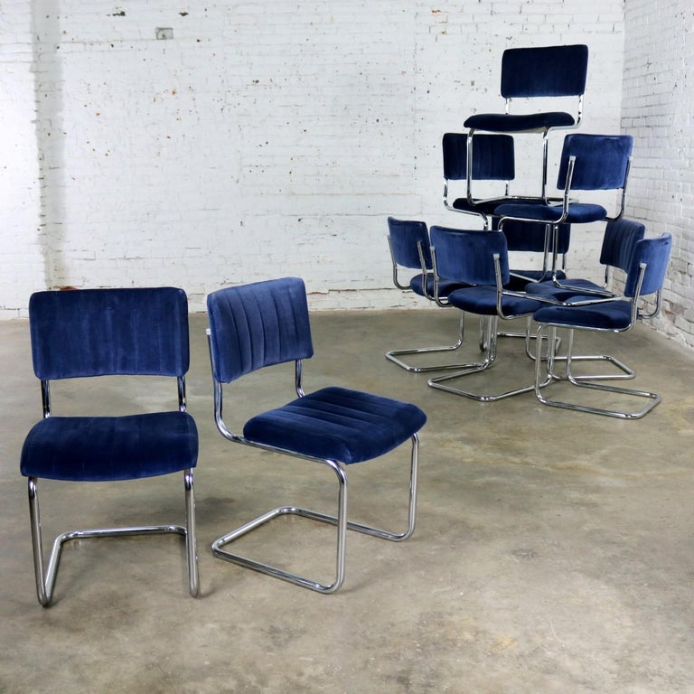 Ten Cantilevered Chrome and Blue Velvet Dining Chairs after Marcel Breuer Cesca In Good Condition For Sale In Topeka, KS