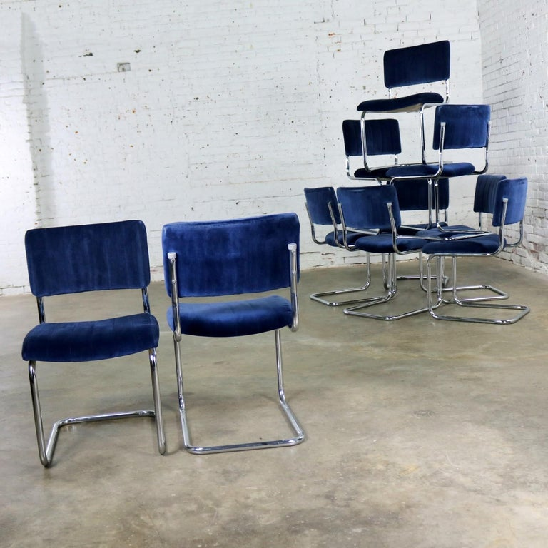 20th Century Ten Cantilevered Chrome and Blue Velvet Dining Chairs after Marcel Breuer Cesca For Sale