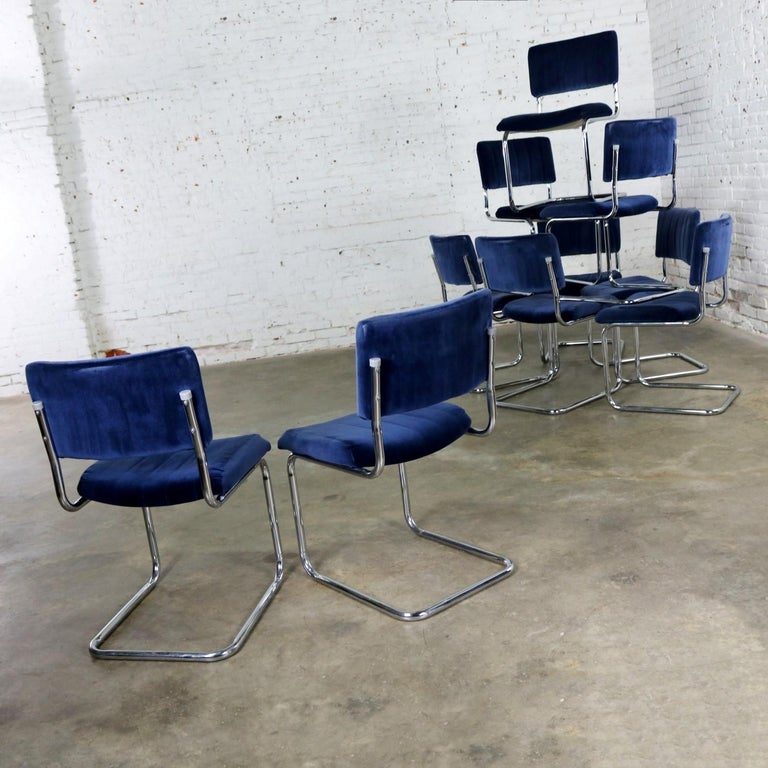 Ten Cantilevered Chrome and Blue Velvet Dining Chairs after Marcel Breuer Cesca For Sale 3