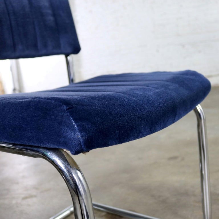 Ten Cantilevered Chrome and Blue Velvet Dining Chairs after Marcel Breuer Cesca For Sale 6