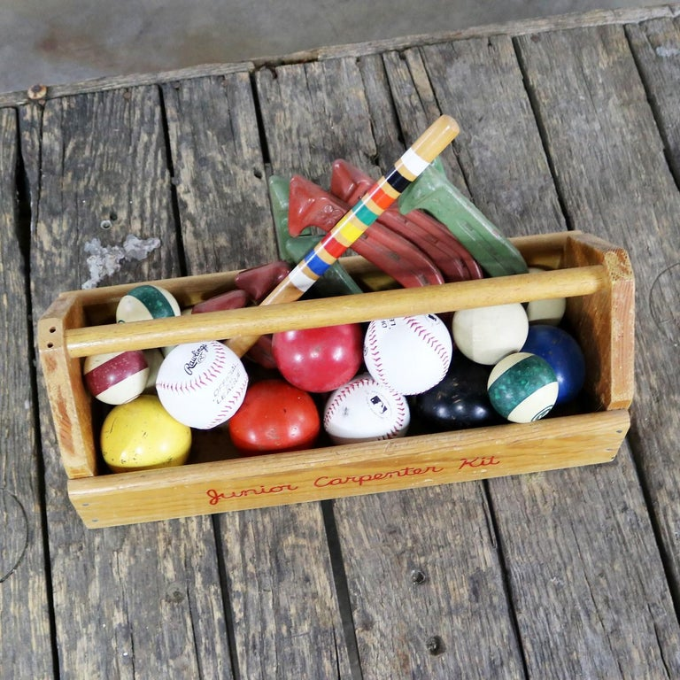 Object d 'Art Centerpiece Junior Carpenter Kit Tool Box with Balls and Horseshoe In Good Condition For Sale In Topeka, KS