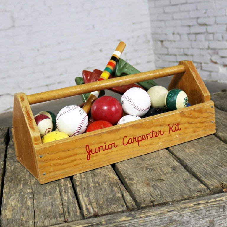 Object d 'Art Centerpiece Junior Carpenter Kit Tool Box with Balls and Horseshoe For Sale 6